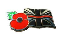 Thin Red Line Union Jack Remembrance Tie Pin Lapel Badge Fire Fighter & Rescue