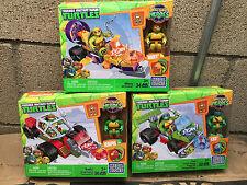 Mega Bloks Ninja Turtles Mikey's Jet Cruiser Raph Shell Cycle Leo Buggy 102Piece
