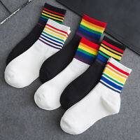 Men Women Rainbow Striped Socks Short Ankle Cotton Sport  Socks Casual Hosiery