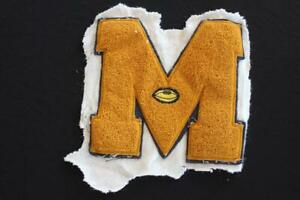"VINTAGE 1970'S SCHOOL LETTER ""M"" BLACK AND GOLD PATCH 7 1/2X 7 1/2"""