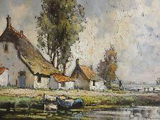 Wim VAN NORDEN (1917-2015) TOP gr impressiv Gemälde: HÄUSER AM WASSER IN HOLLAND