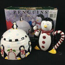 VTG 1998 Sugar Bowl Creamer Set Sakura Debbie Mumm Penguins Christmas Holliday