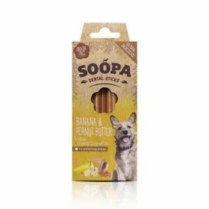 Soopa Banana and Peanut Butter Dental Sticks Dog Chew Treat Reward 100g Pack