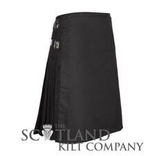 New Mens 8 Yard Plain Black Formal Scottish Kilt - Waist Sizes 30-48inches
