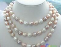 "Long 42"" 8-9mm Natural Multicolor Baroque Freshwater Cultured Pearl Necklace"