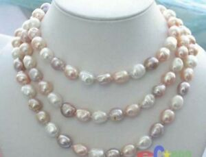 """Long 42"""" 8-9mm Natural Multicolor Baroque Freshwater Cultured Pearl Necklace"""