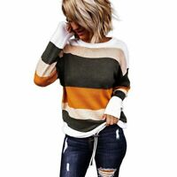 Hollow in Fall Striped Stylish Pullover Fashion Top T-Shirt Sweaters Women Girl