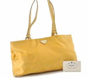 Authentic PRADA Nylon Leather Shoulder Tote Bag Yellow D8977