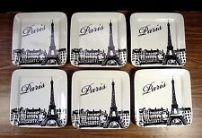 "Set of 6 CIROA Appetizer, 6"" Dessert Plates Paris Eiffel Tower Porcelain NEW"