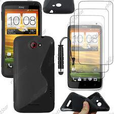 Housse Etui Coque Silicone S-line Noir HTC One X + Mini Stylet + 3 Film écran