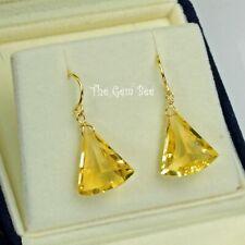 18K Solid Yellow Gold Golden Citrine Fancy Fan Shape Briolette Earrings