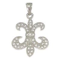 FLEUR DE LYS/LIS-Lilly Flower-Solid Sterling silver pendant/necklace-CZ-Chain op