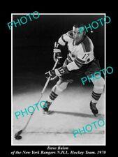 OLD POSTCARD SIZE PHOTO OF NEW YORK RANGERS NHL HOCKEY GREAT DAVE BALON 1970
