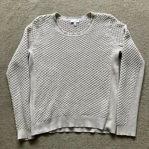 White Company jumper size Medium M beige cable wool cotton cable knit 12
