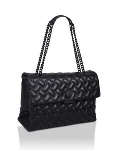Kurt Geiger XXL Black Leather Drench Kensington Bag BRAND NEW SEASON!