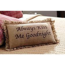 ALWAYS KISS ME GOODNIGHT Embroidered Cotton Burlap Pillow