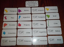 South America FlashCards. Picture and Word flashcards. Elementary Geography.