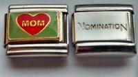 MOM Red HEART Love Mum Green Italian Charm plus 1x Nomination Bracelet Link