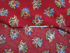 Vintage Concord Cotton Fabric Flower Clusters Red Repro-Feedsack Quilting BTHY
