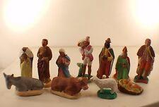 M. Chave Aubagne Lot de 11 santons créche rois boeuf Jésus argile peints 12 cm