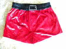 CHRISTMAS SANTA CLAUS RED CRUSHED VELVET BOXER SHORTS MENS MED BY INTIMO
