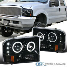 Pearl Black For 99-04 F250 F350 F450 F550 Super Duty Halo Projector Headlights