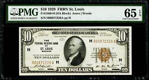 $10 1929 Federal Reserve Bank Note St. Louis Fr#1860-H PMG 65 EPQ Gem UNC