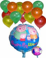 Peppa Pig Family World 45cm Foil Helium  + 12 Latex Balloons Party Decoration