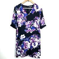 Womens The Limited 8 Floral Shift Shirt V-Neck Dress Purple Detailed Sleeves