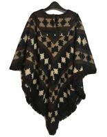 British Vtg 80s/90s Plaid Ikat Cape Brown Cloak Fringed Poncho UK 12 Winter