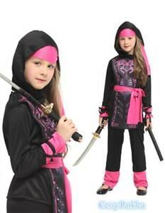 F4-1Pink Crystal Ninja Stealth Assassin Japanese Warrior Book Week Girls Costume