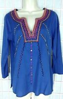 Lucky Brand Top Size S Blue Embroidered Neckline