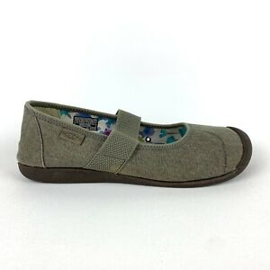 Keen Sienna Brown Canvas Mary Jane Slip On Shoes Womens Size 10.5 EUC
