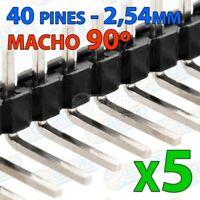 Tira 40 pines 2,54mm simple ACODADO MACHO - single row soldar 90º - Lote 5 unida