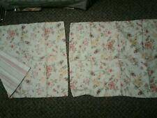 Pair Of Floral Pillow Shams Pale Green With Pink Yellow Red Flowers Striped...