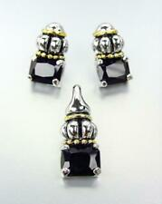 EXQUISITE Silver Gold Faceted Black Onyx Crystal Caviar Pendant Earrings Set