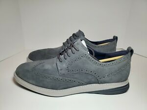Men's Cole Haan Grand Evolution Gray Suede Wingtip Oxford Shoes #C27395 Sz 11.5