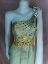THAI TRADITIONAL BEAUTIFUL WEDDING DRESS BRIDAL GOWN GREY CROWN ROYAL GOLD