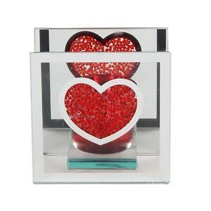 Red Heart  Glass & Glitter Candle Tea Light Holder