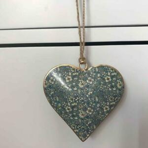 Small Blue Ditsy Floral Metal Hanging Heart