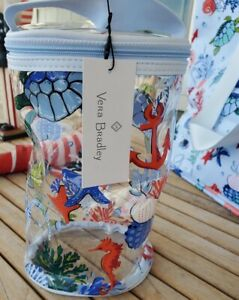 Vera Bradley Anchors Aweigh Seahorse Coral Clear Lotion Bag New w Tags