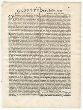 1747, July 15, Original French Gazette # 29, Period of the 3rd intercolonial war