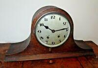 Antique 1930's Napoleon's Hat Oak Mantel Clock with Pendulum & Coiled Chime Bar
