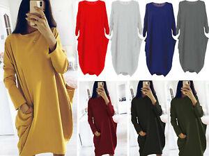 New Ladies Italian Lagenlook Cotton Long Sleeve Tunic Dress Red Plus Size 10-26