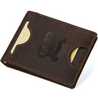 Men's Genuine Nubuck Leather Wallet RFID Blocking Money Clip Front Pocket Purse