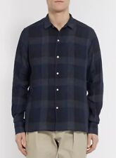 NEW Officine Generale Men's Penny-Collar Checked Linen Shirt Size Large