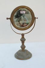 Antique Old Hand Crafted Brass Wooden Table Mirror With Stand Decorative NH1741