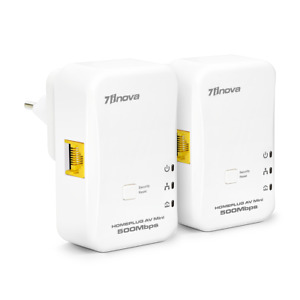 2x 500Mbps Mini Homeplug Ethernet Network Extender AV Powerline Adapter Kit