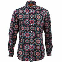 Mens Shirt Loud Originals TAILORED FIT Fractal Blue Retro Psychedelic Fancy