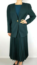 Jacques Vert Skirt Suit Green Teal Pleated Long Jacket Wool Vintage 80s UK 12 14